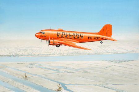 Douglas DC-3 KLM PH-ASP vliegend boven sneeuw 25 cm